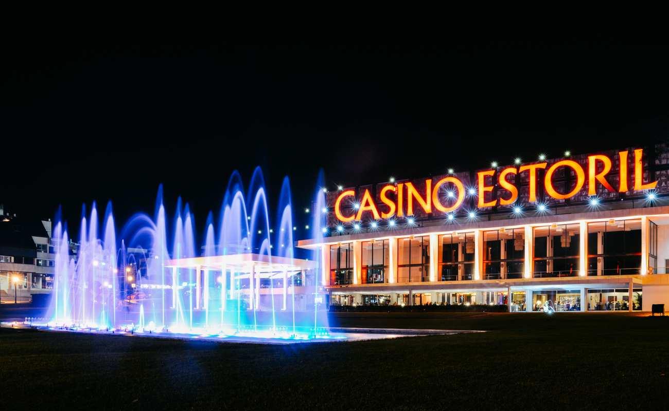 Casino Estoril in Portugal lit up at night