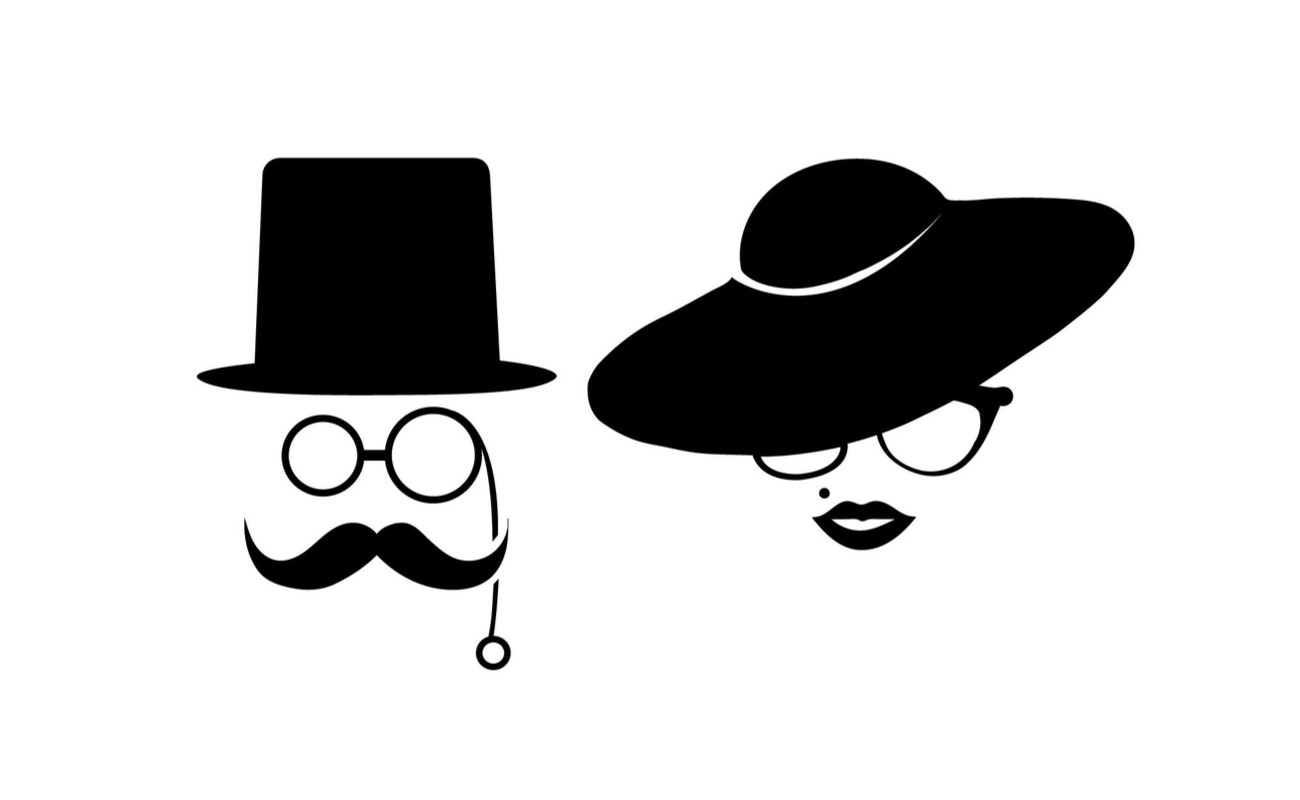 Black icon of gentleman wearing a top hat and lady wearing a wide brimmed hat