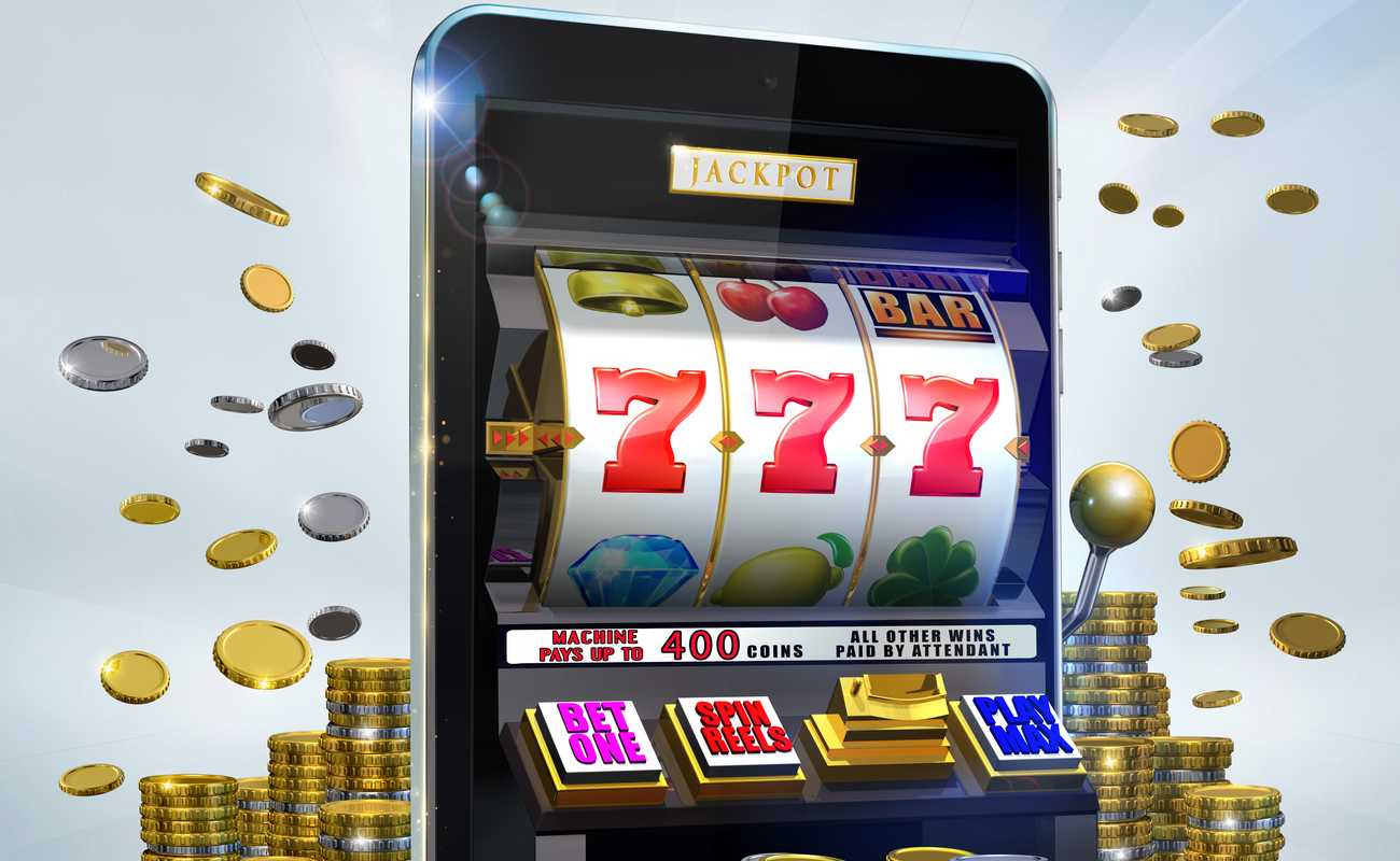 Jackpot slots machine with 777 displayed with coins flying around it