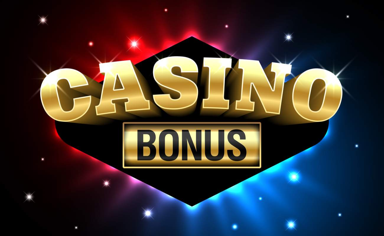 Casino bonus in big gold letters with blue and red sparks in the background.