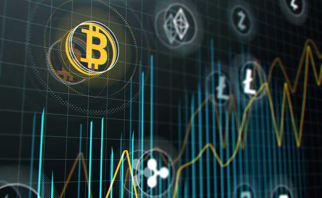 Bitcoin and other virtual cryptocurrencies on a stock market graph.