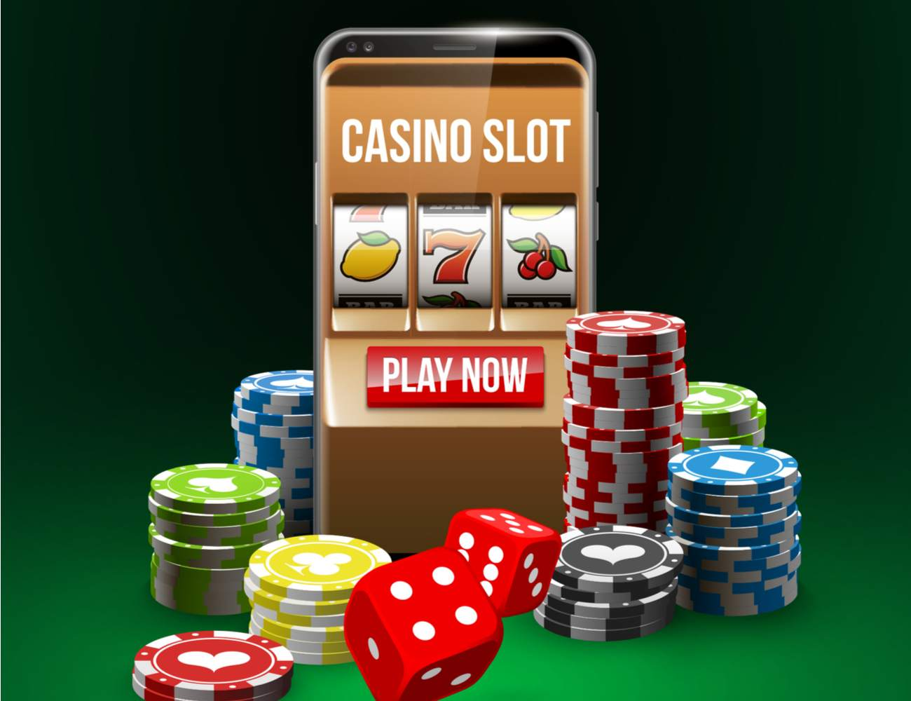 Casino slot game online iPhone with casino chips and dice below.