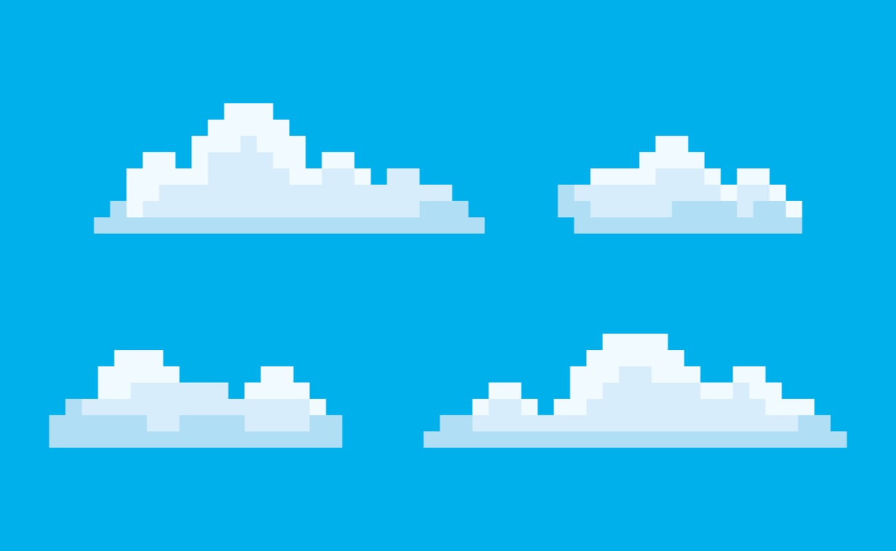 pixel art game icons, with a blue sky background and 4 pixelated clouds.
