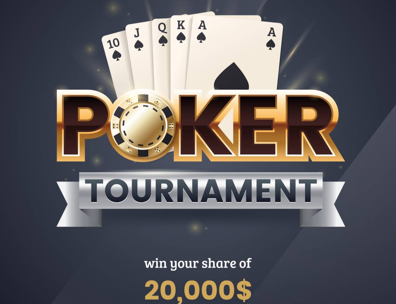 Poker tournament banner in front of a royal flush poker combination.