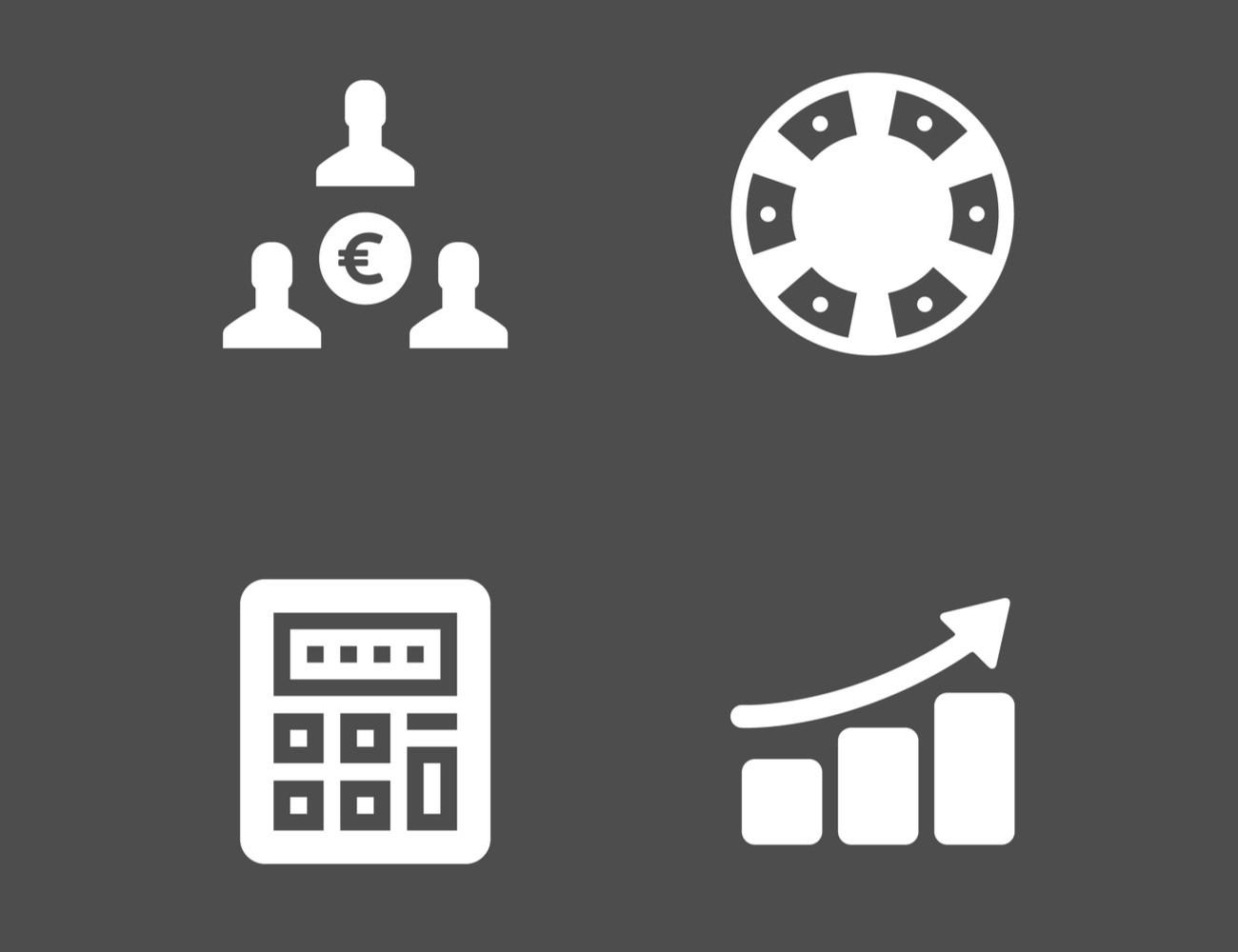 Money icon, poker chip icon, calculator icon and chart icon