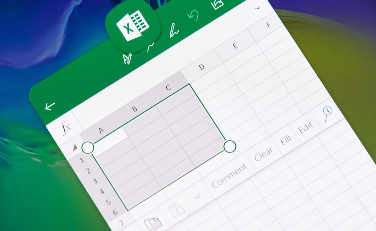 Spreadsheet screenshot on an app with some cells highlighted.