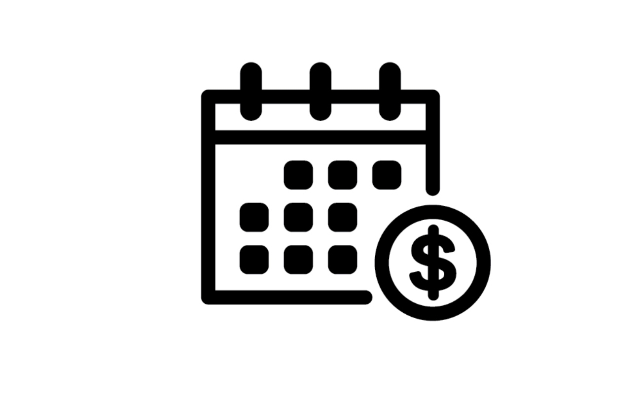 Calendar icon with a dollar sign in black and white outline.