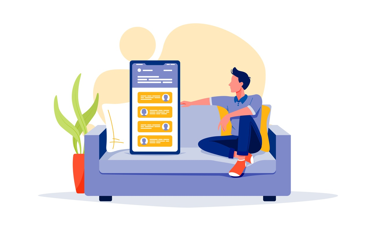 Illustration of a person sitting on a sofa next to a giant phone