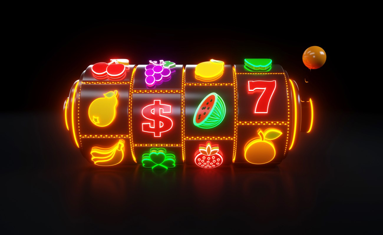 Slot Machine With Fruit Icons in neon lights