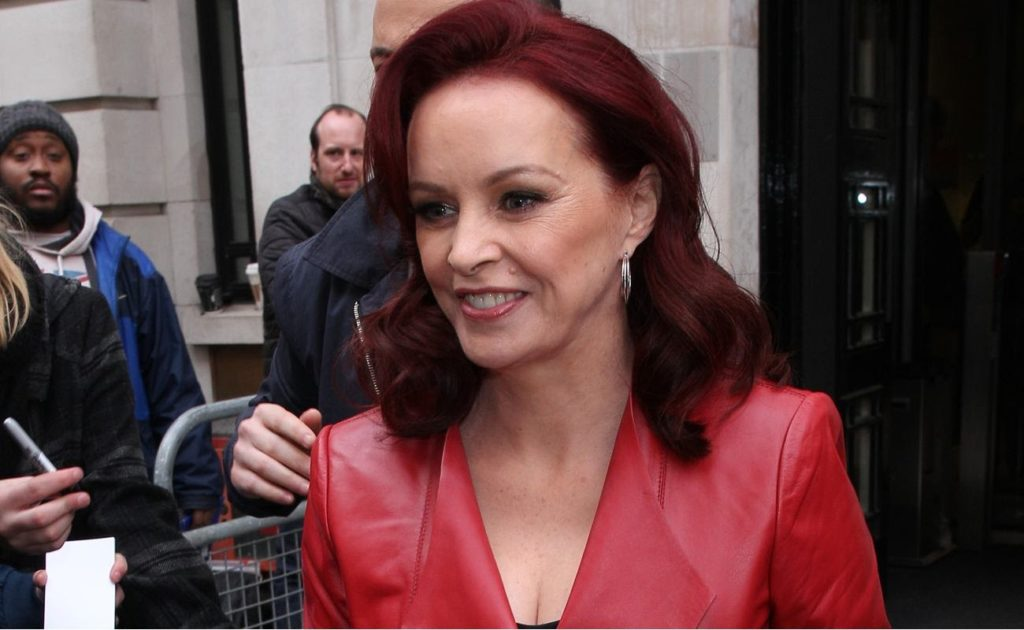 Sheena Easton seen at the BBC Radio Two studios wearing a red leather jacket