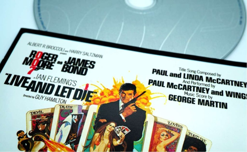 Macro view of a special edition CD of a 007 soundtrack, Live and Let Die