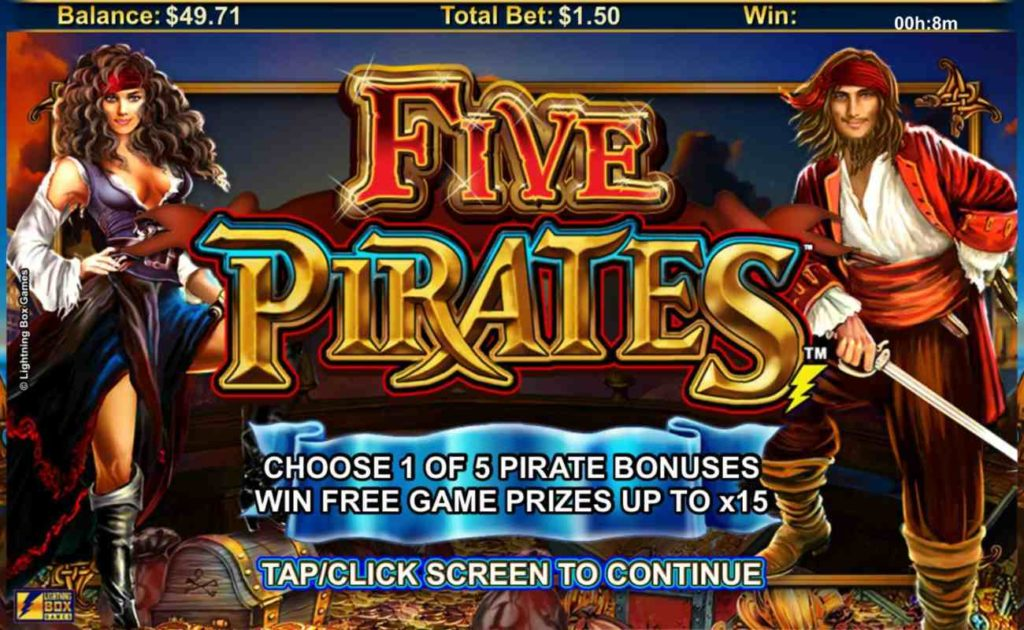 Welcome screen of Five Pirates online slot casino game