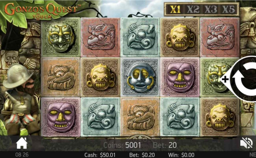 Gonzos Quest online slot casino game icons