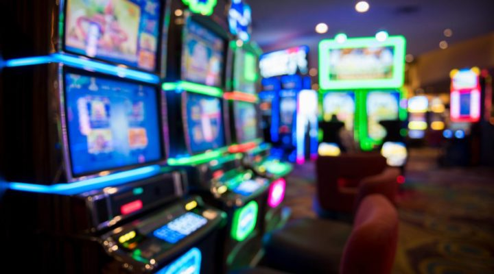 Blurred slot machines in casino