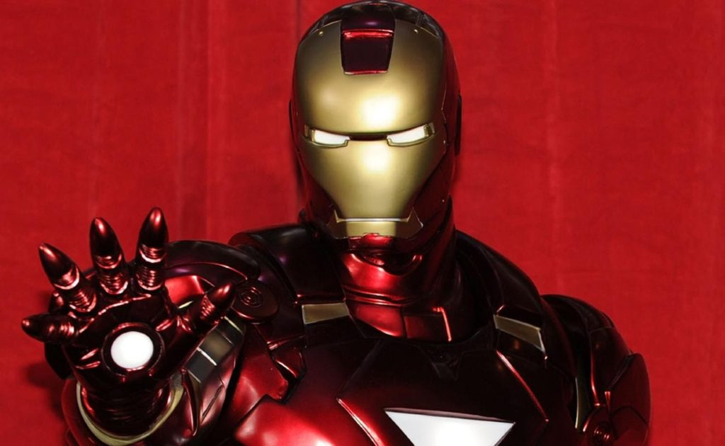 Iron Man character against a red background