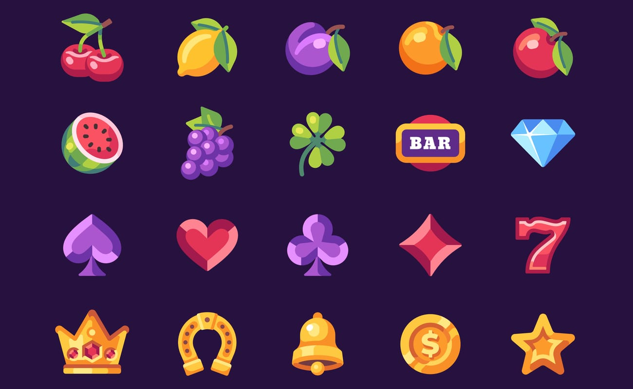 Classic slot machine symbol collection on dark blue background