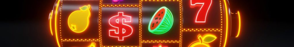 Neon slot machine with fruit icons