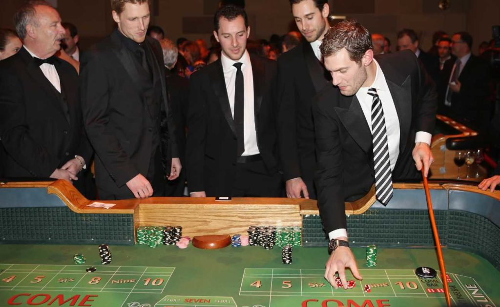 NY Rangers players play craps in New York City