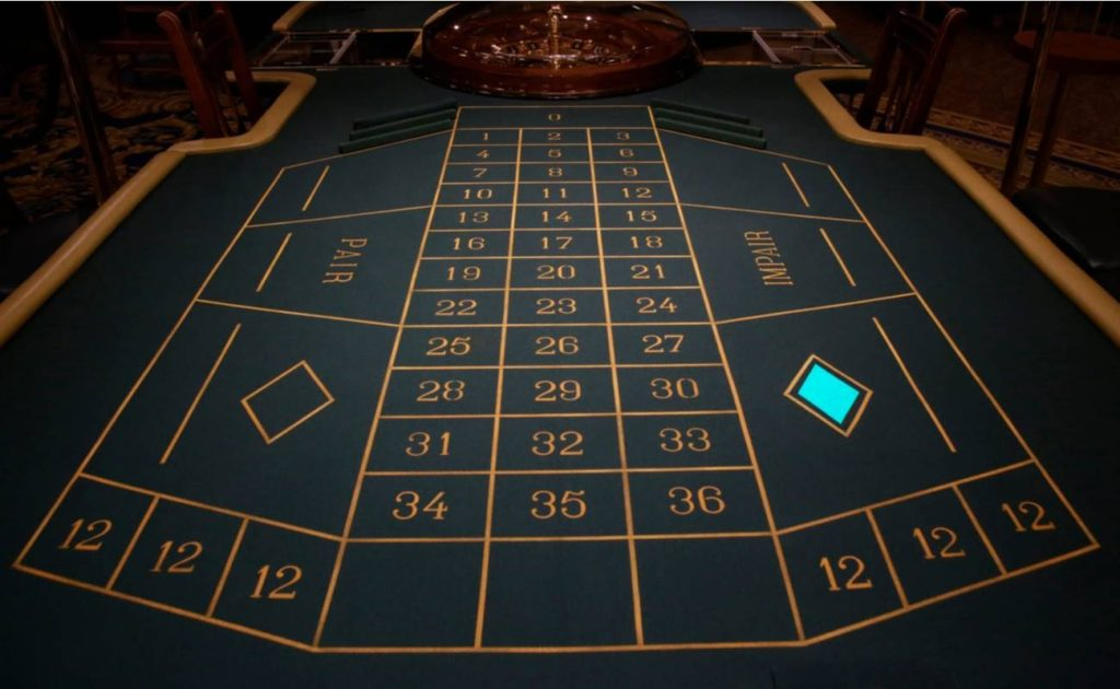 Empty craps table at the casino