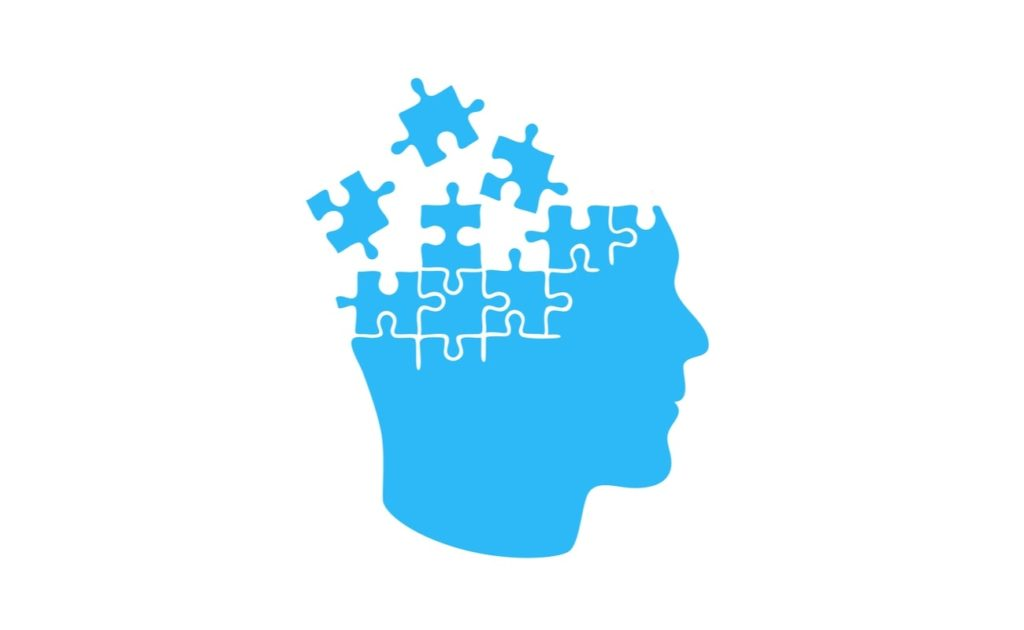 Vector illustration of blue head puzzle memory concept