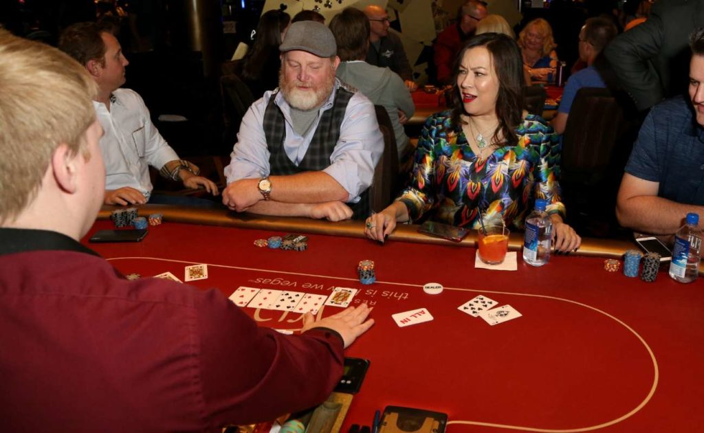 Actress Jennifer Tilly participates in CP celebrity charity poker event Aria Resort & Casino