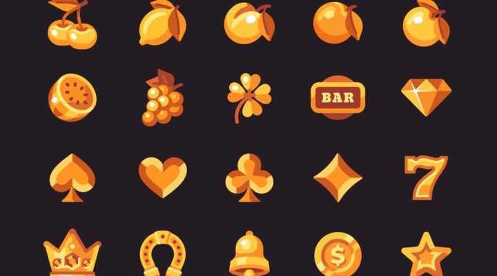 Classic gold slot machine symbol collection on a dark background.