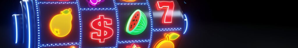 3D illustration of slot machine with fruit icons and neon lights