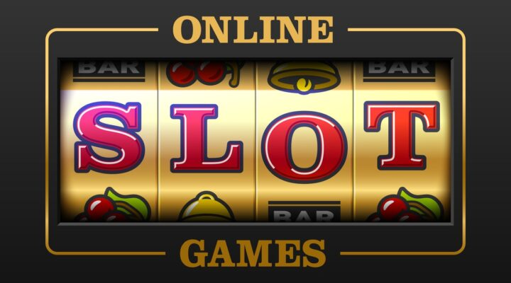 slot machine vector illustration with text Online Slot Games