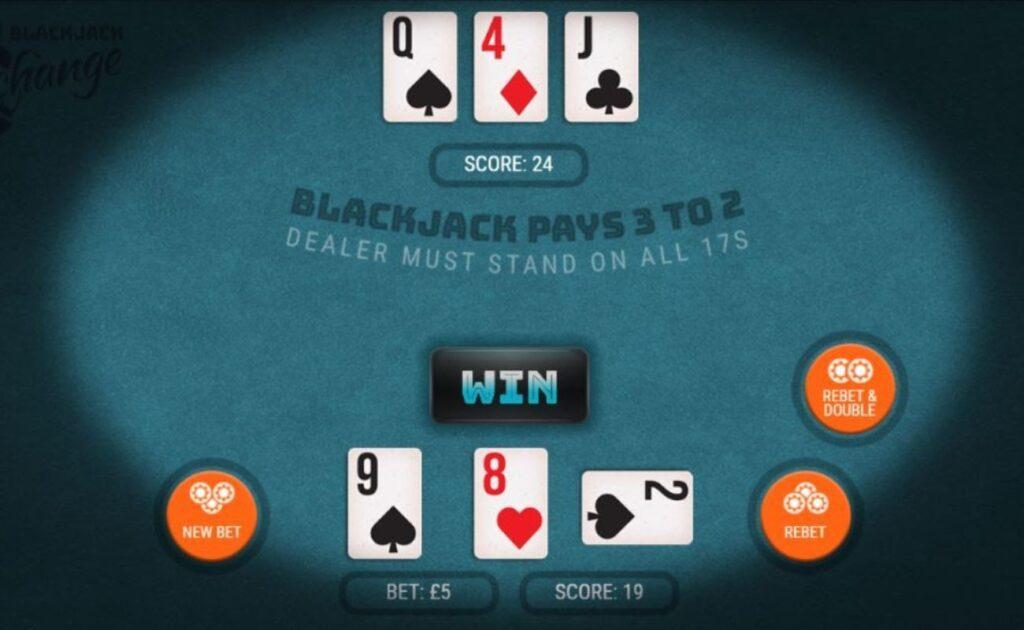 Blackjack Xchange online casino game