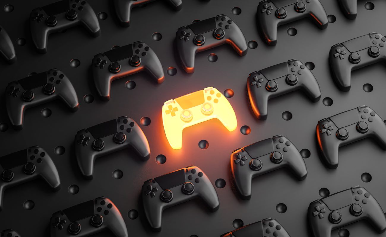 3D rendering of glowing gamepad between multiple black joysticks