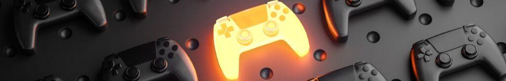 3D rendering of glowing gamepad between multiple black joysticks