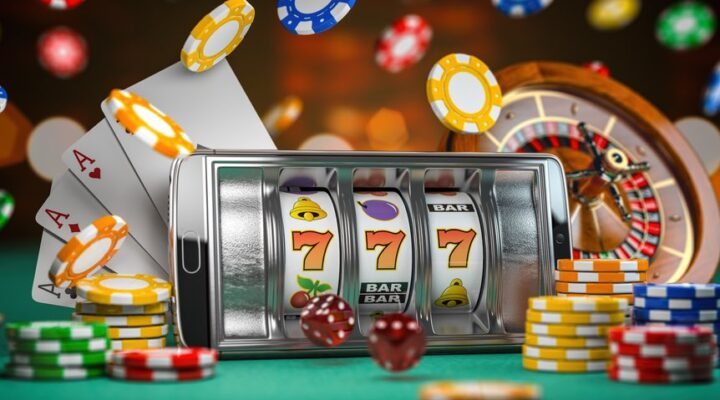 Three orange 7s lined up on a mobile online slots game, with chips, cards and a roulette wheel in the background.