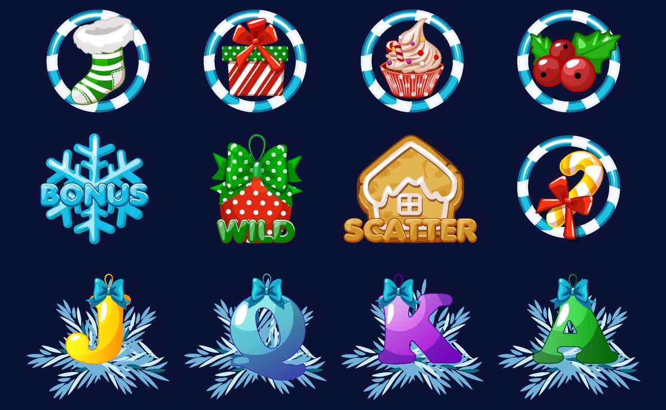 Set of icons for Christmas holiday themed casino slot game