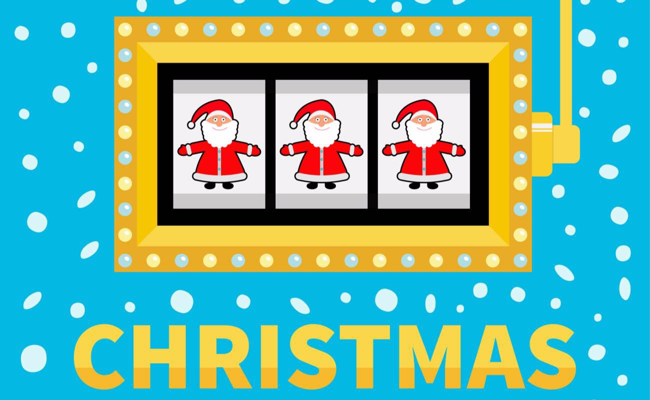 Vector illustration of a Christmas slot game against blue background