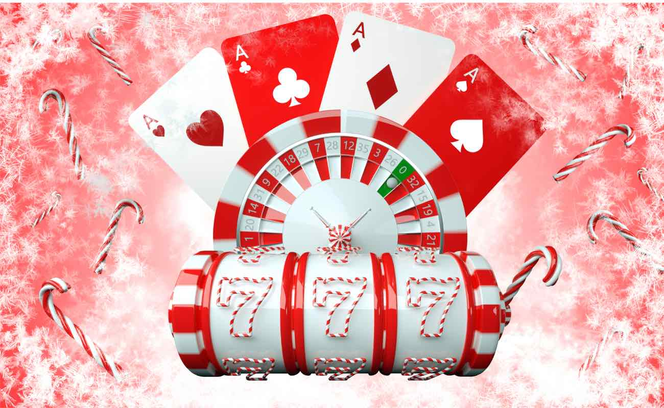 Red and white Christmas and New Year-themed slot machine, roulette wheel, and playing cards with candy canes.