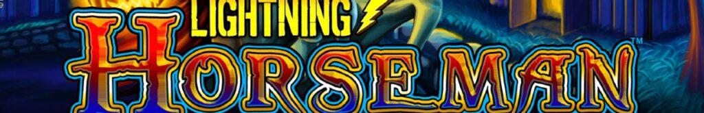 Lightning Horseman logo on blue background.