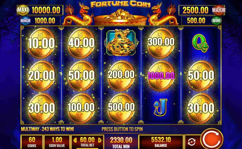 Big win with the Fortune Coin bonus feature with gold coins