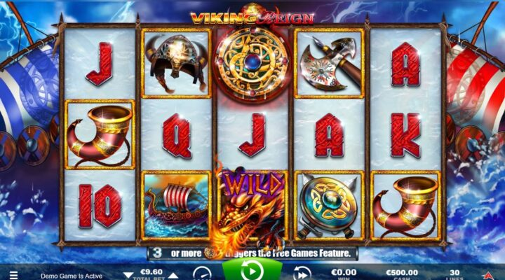 Top part of Viking Reign slot game