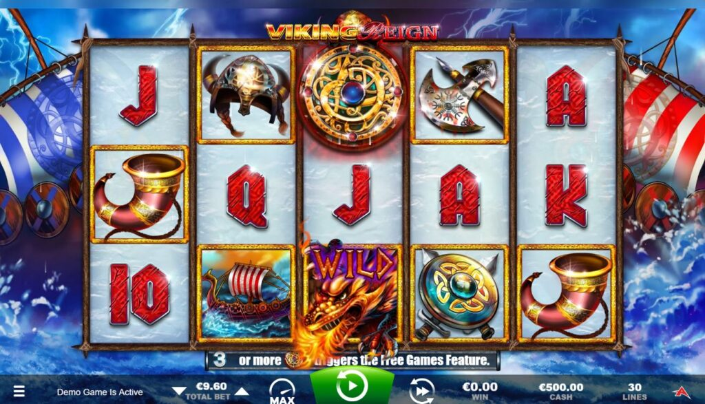 View of Viking Reign slot game reels