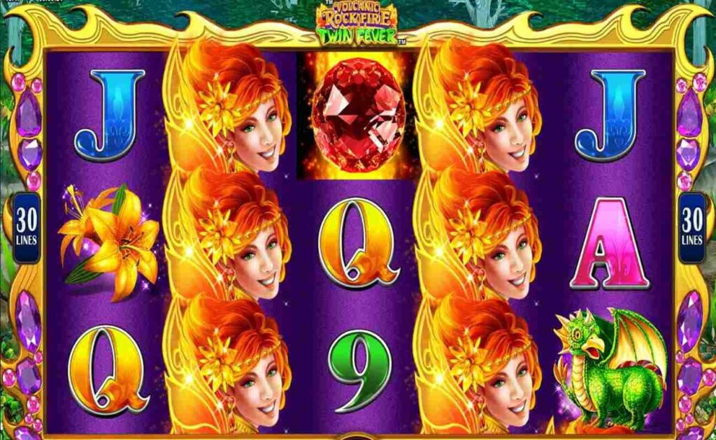 Volcanic Rock Fire Twin Fever online slot casino game by Konami.