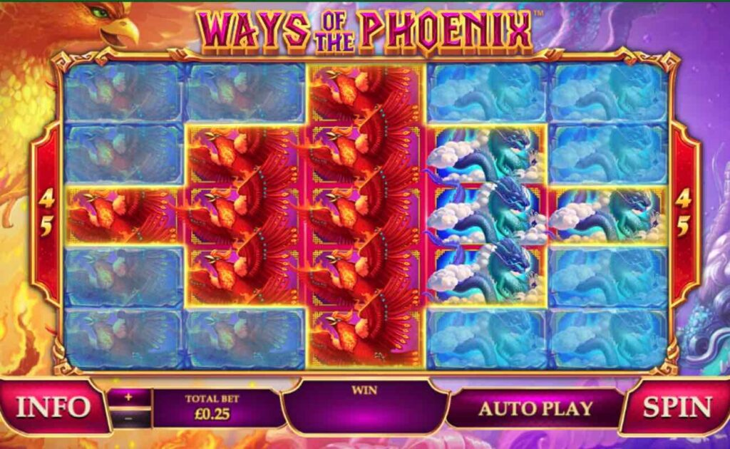 Game window at the start of Ways of the Phoenix, an online slot casino game by Playtech.
