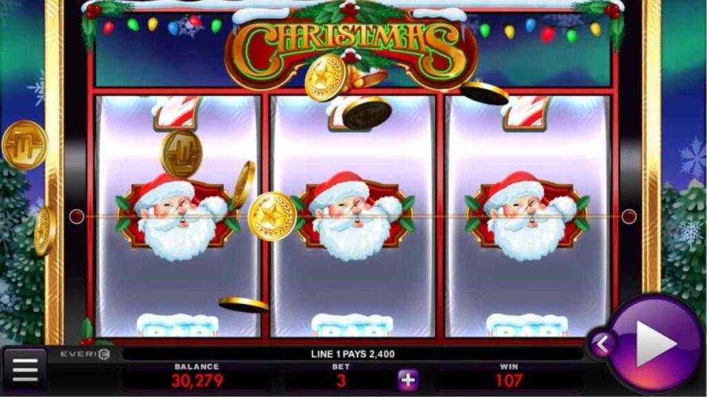 Christmas online slot logo by Everi.