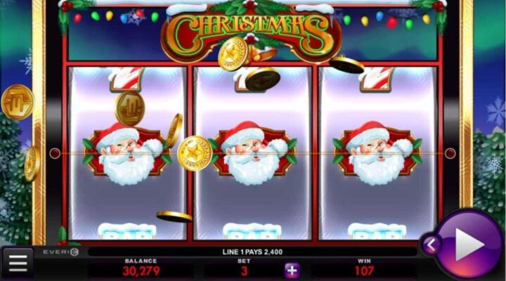 Christmas online slot logo by Everi.