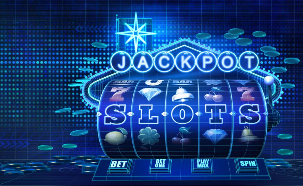 Digital concept of a casino jackpot slot machine on blue background with coins.