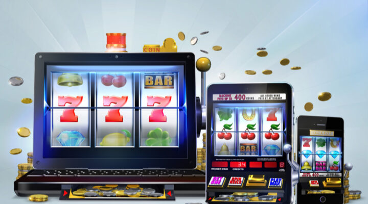 Online casino slot machine with reels displayed on mobile devices.