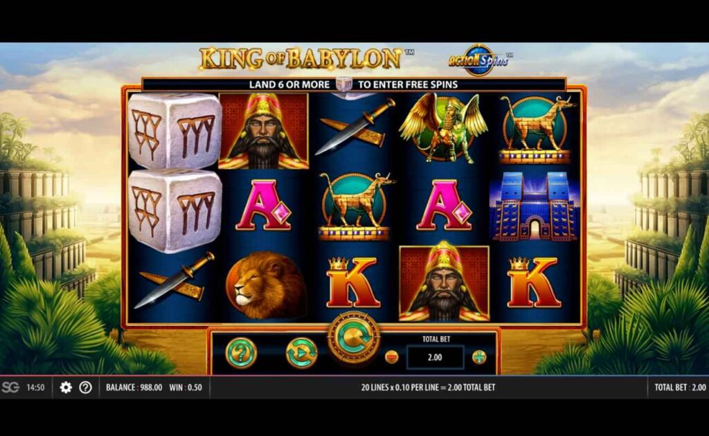 A screenshot of the King of Babylon demo.