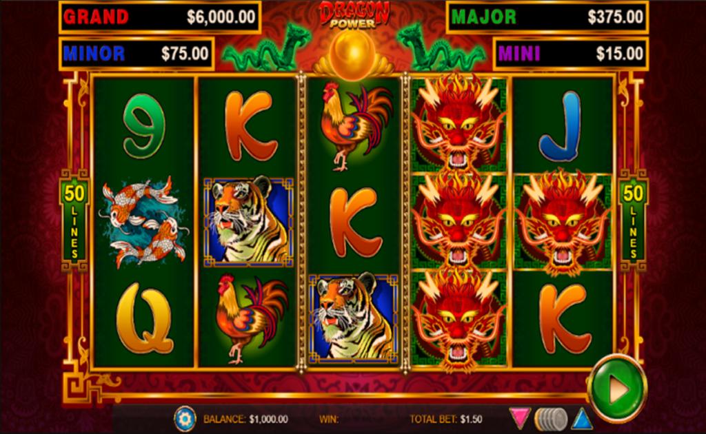 Screenshot of the reels in Dragon Power, an online slot by Wild Streak Gaming.