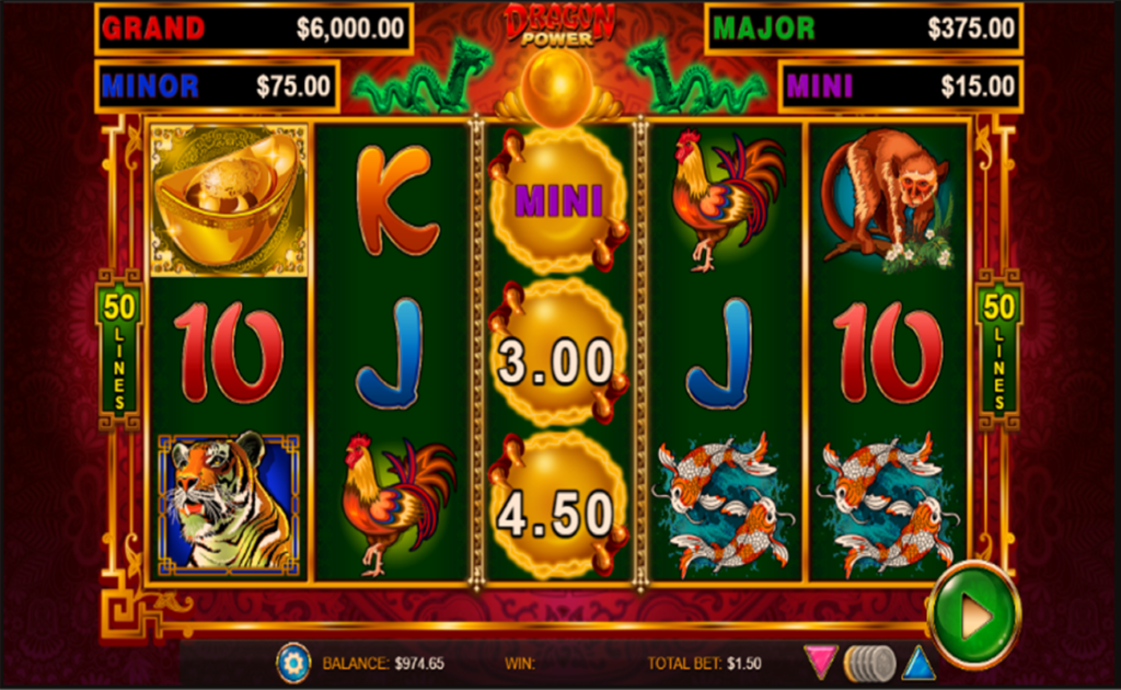 View of the reels in Dragon Power with golden orb symbols down the middle reel.
