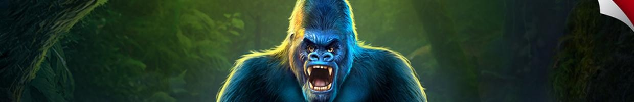 The iconic gorilla from Congo King online casino slot loading page.
