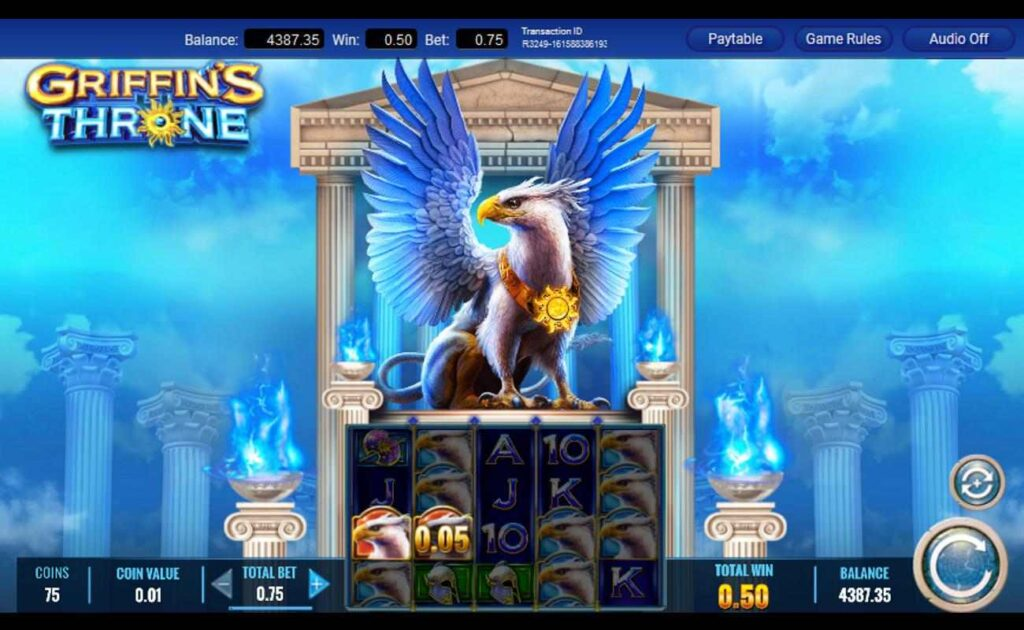 A screenshot of the gameplay of Griffin's Throne.